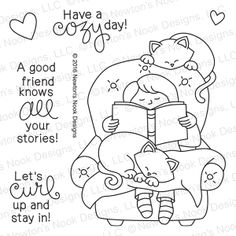 A Cozy Day In | 4x6 Photopolymer Stamp Set | Newton's Nook Designs