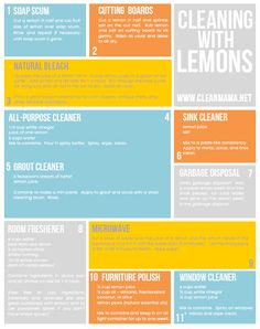 Harness the power of lemons for cleaning your home. Leaves your home smelling great and works like a charm! Cleaning With Lemons - Clean Mama