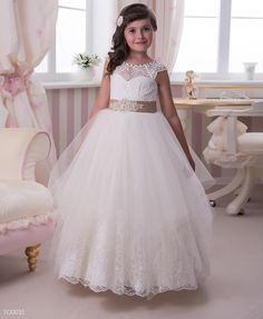 Buy 2015 Lace Flower Girls Dresses For Weddings Sheer Bateau Cap Sleeve A Line With Crystal Sash Bow Tulle Long Junior Bridesmaid Dresses Olesa Online with the Low Price: $79.32 | DHgate.com