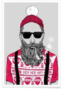 "Amazon.de: JUNIQE® Poster 80x120cm - Design ""Ho Ho Hipster"" (Format: Hoch) - Bilder, Kunstdrucke &"