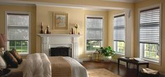 """SelectBlinds' 3"""" Sheer Room Darkening Shades offer the benefits of a roller shade, a horizontal blind, and the soft look of a cellular shade. These elegant shades have fabric vanes placed between two layers of soft sheer material and allow you to control the amount of light filtering into your room by tilting the horizontal vanes."""