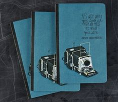 An Idea Journal Packed With Inspirational Photography Quotes and paintings of vintage cameras.