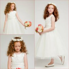 Adorable Ivory lace tulle wedding pageant recital flower girl party dress size 8 #Dress