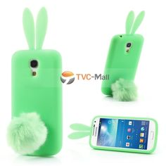 Green Rabbit Silicone Case for Samsung Galaxy S 4 mini I9190 w/ Velvet Tail Stand