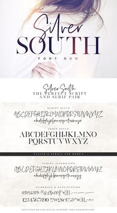 Introducing the Silver South Font Duo, a classy, contemporary pair of script and serif fonts. With a stylish didot-style serif font and a free-flowing, expressive script companion, Silver South offers beautiful typographic harmony for a diversity of design projects, including logos & branding, wedding designs, social media posts, advertisements & product designs.