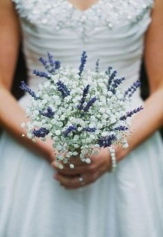 Petite #wedding #bouquet with baby's breath and lavender Benjamin Stuart Photography