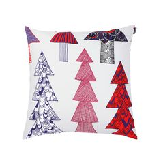 The trendy Kuusikossa cushion cover is designed by Maija Louekari for Marimekko. Scandi Christmas, A Christmas Story, Christmas Design, Marimekko, Crate And Barrel, Throw Rugs, Throw Pillows, Scandinavia Design, Xmas Decorations