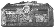 """The Bamberg Casket a 10.4"""" x 5.1"""" square oak box covered with thin, carved sheets of walrus ivory in the Mammen style of ornament. The seams are covered with gilt-bronze bands engraved with a formal tendril pattern, which are nailed to the wooden base. """"Barbaric, vulgar and ostentatious... a satisfying object which a queen would be proud to own"""" (Wilson and Klindt-Jensen, 124-128)."""