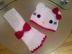 Crochet hello kitty hat and scarf set for by YuliCrochetCreations, $22.00