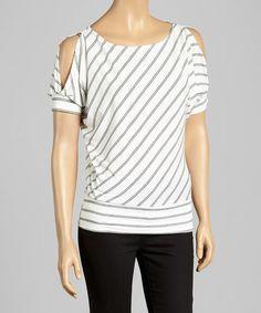 White & Black Double-Stripe Cutout Top - Women by J-MODE #zulily #zulilyfinds