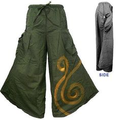 BOHO HIPPIE POCKET SIDE WIDE-LEG LONG GAUCHO PANTS -A40