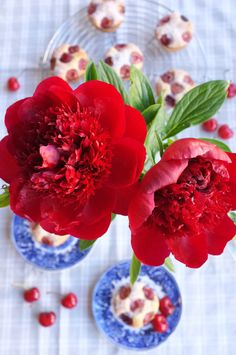 Cherry red peonies with cherry muffins. That's summer in a nut shell! Cherry Muffins, Red Peonies, Cherry Red, Sweet Treats, Shell, Vegetables, Flowers, Summer, Food