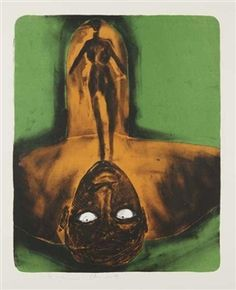 [Self-Portrait in Red and Green] By Francesco Clemente ,Circa  1980
