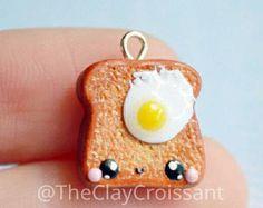 Kawaii Egg on Toast - Polymer Clay Charm, Polymer Clay Jewelry, Miniature Food, Food Jewelry, Pendant, Breakfast, Kawaii Charm, Kawaii, Cute