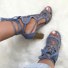 Chunky Cutout Lace Up Sandal Heels