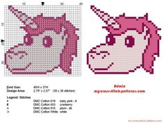 Small unicorn face free cross stitch pattern in 40 stitches