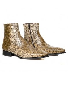 Women Brown reptile print boots with silver edging | Jonak