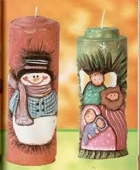Velas pintadas Diy Candle Holders, Diy Candles, Pillar Candles, Christmas Time, Christmas Crafts, Christmas Decorations, Candle Making At Home, Candle Art, Candle Accessories