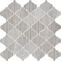 Natural Stone Collection Chenille White L191 3x3 Baroque (Ogee) Polished Mosaic tile.