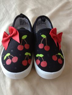 Hand Painted Cherry Shoes by MonkeymouDesigns on Etsy, $22.00