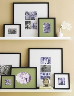 DIY family photo arrangements and shelves. - Love the mix of different colored mattes and sepia and b prints.