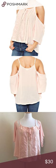 🆕 Cold Shoulder Crochet Front Panel Top Cold Shoulder Crochet Front Panel Top PRODUCT DETAILS Rayon Imported Machine washable Tops Blouses