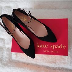 Kate spade black shoes Kade spade black ankle strap shoes. Suede outdid and leather insoles kate spade Shoes Heels