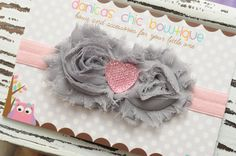 NEW double grey and pink  shabby flower by DanicasChicBowtique, $9.00