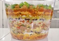 Seven-layer dip is fine, if you're some kind of BABY. The Super Bowl calls for a BIG DIP. Tater Tot Recipes, Layered Bean Dip, Seven Layer Dip, Yummy Appetizers, I Love Food, Finger Foods, Mexican Food Recipes, Yummy Food, Healthy Food