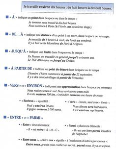 espace-et-temps- Language Study, French Language, French Prepositions, French Education, French Grammar, Core French, Learning French, French Quotes, Languages