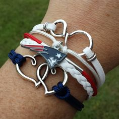 NFL New England Patriots Multi-Strand Friendship Infinity Charm Bracelet Sports Football Team | New England Patriots Jewelry