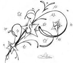 Star Tattoo with my kids initials