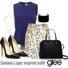 Santana Lopez inspired outfit/Glee by tvdsarahmichele on Polyvore featuring Reed Krakoff, River Island, Christian Louboutin, Kate Spade and IaM by Ileana Makri