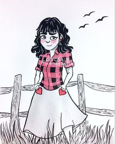 Finally finished with my illustration, learning how to use ink, inspired by @lizlapointeart's style! This was very enjoyable, and not bad for my first attempt 😊  #art #artgallery #doodle #heart #❤️ #ink #indiaink #countrygirl #plaid #woodfence #inking #watercolor #illustration #girl  #ObscureTheDinosaur #DinosaurEndeavors