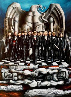 2009 El Supremo Poder de la República, 1.22 X 0.90 M, óleo sobre tela sobre MDF, por el GRUPO EDAM MÉXICO para la Fundación de la Familia de Benito Juárez García, A.C.