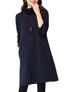 Sale 18% (35.19$) - Loose Women Solid Brief Turtleneck Long Sleeve Pocket Straight Dress
