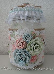 Altered Jar made with Diemond Dies Realistic Roses Die Set, Small Monarch Butterfly Die Set, Fancy Flowers Die Set, Mini Must Haves Die Set,...
