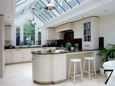 Gabled conservatory kitchen extension, bright and open! Orangerie Extension, Conservatory Extension, Conservatory Kitchen, Conservatory Design, Conservatory Interiors, Open Plan Kitchen, New Kitchen, Kitchen Dining, Kitchen Decor