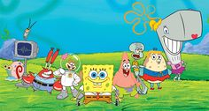 The whole spongebob gang:  pearl, Mrs.puff, Squidward, Patrick, Sandy, Mr.Krabs, Plankton, Karen, AND OF COURSE SPONGEBOB!