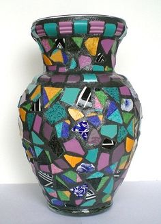 Your place to buy and sell all things handmade Mosaic Bottles, Mosaic Vase, Mosaic Flower Pots, Mosaic Crafts, Mosaic Ideas, Coordinating Colors, Different Patterns, Craft Gifts, Stained Glass