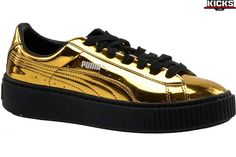 Damskie Puma Basket Platform Metallic 362339-04