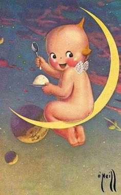 Kewpie sitting on a moon sliver fabric block not iron on you choose size