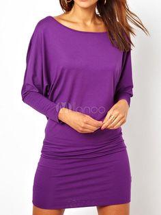 Purple Long Sleeves Shaping Milk Silk Stylish Women's Short Dress - Milanoo.com