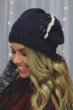 Slate Blue Crochet Lace Detail Button Detail Beanie | UOIonline.com: Women's Clothing Boutique