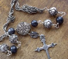 Silver Cross Necklace Vintage Assemblage by WhatOnceWas on Etsy, $179.00