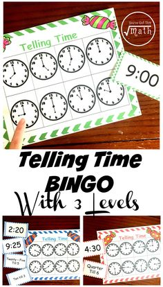 This bingo game is a great telling time for kids activity. With three different levels your kids will work on telling to the hour, then quarter and half hour, and finally to five-minute increments. It also includes word cards like half past and quarter till.