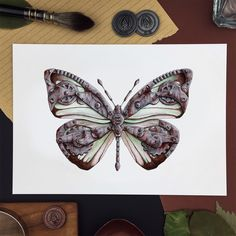 Info: Print, size : 21 x cm ( x in) Printed in Norway on Scandia 2000 white paper White Paper, A5, Corner, Butterfly, Prints, Printed, Bowties, Art Print, Caterpillar