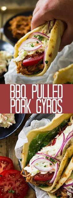 BBQ Pulled Pork Gyros ~ feature a nicely seasoned slow cooker pulled pork, homemade creamy coleslaw, and a sweet and sticky bbq sauce! Slow Cooker Pork, Slow Cooker Recipes, Pork Wraps, Easy Dinner Recipes, Dinner Ideas, Weeknight Recipes, Weeknight Dinners, Meal Ideas, Kitchens
