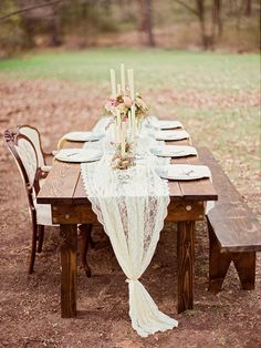 Farm table with lace runner #rusticwedding