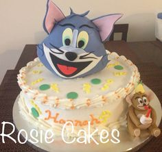 #tomandjerry Tom and Jerry.  #fondant #birthday #cake #kids #tom #jerry. Tom is based on rice crispies. :)